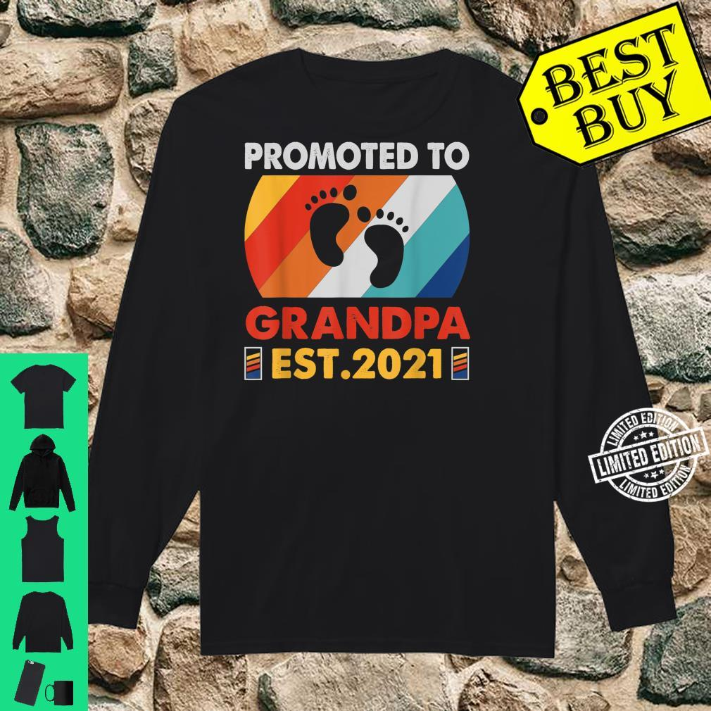 Vintage Promoted To Grandpa Est. 2021 Pregnancy Announcement Shirt long sleeved